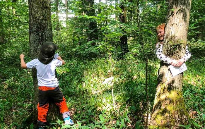Zwei Kinder umarmen Baumstämme
